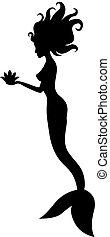 Silhouette of mermaid with flower