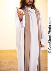 Silhouette of Messiah reaching hand - Silhouette of Messiah...