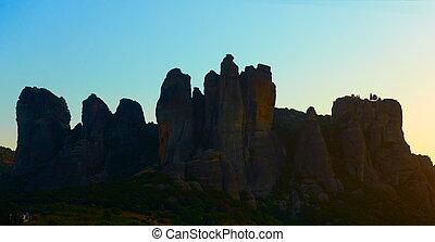Silhouette of Meteora rocks at dawn, Kalambaka, Greece -  ...