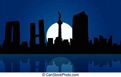 Silhouette of Mexico city at night landscape
