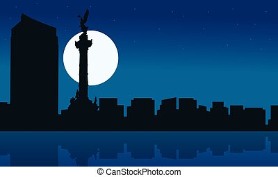 Silhouette of Mexico city at night scenery