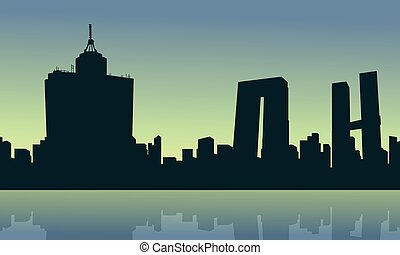 Silhouette of Mexico city at the sunrise