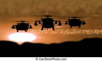 """""""Silhouette of military helicopter is flying on night sky ..."""