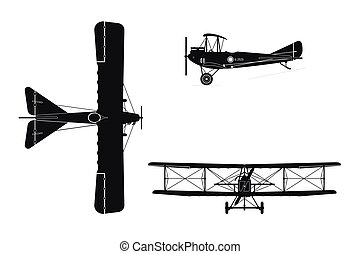 Silhouette of military retro airplane on a white background. Vintage aircraft in three views: top, side, front