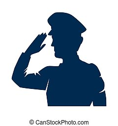 silhouette of military saluting