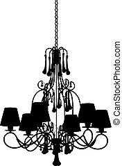 Silhouette of modern chandelier