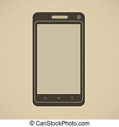 Silhouette of modern smartphone in retro style - Silhouette...