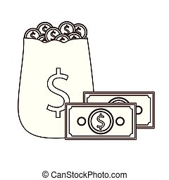 silhouette of money saving and money bag on white background
