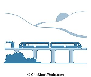 Silhouette of monorail in the mountains. Vector...