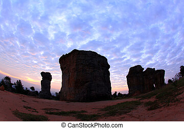 silhouette of Mor Hin Khao, Thailand stonehenge, in the...