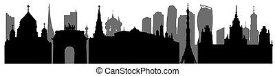 Silhouette of Moscow in Russia, panorama of urban landmarks. Vector illustration
