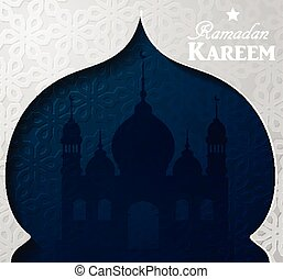 Silhouette of mosque greeting