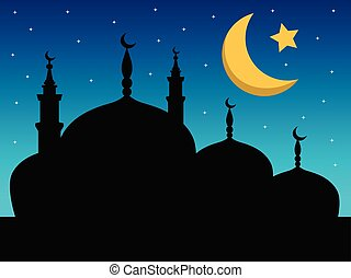 Silhouette of mosque night