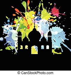 Silhouette of mosque on abstract background