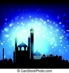 silhouette of mosques 2205 - Silhouette of mosques against a...