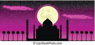 Silhouette of mosques at night