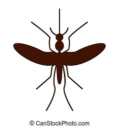 Silhouette of mosquito aedes. Zika virus. - Silhouette of...