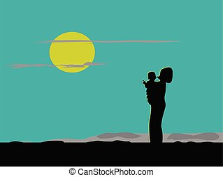 Silhouette of mother and son standing on the mountain, watching the moon blue background.