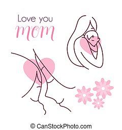 silhouette of mother with baby, happy mother day