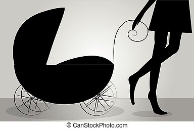 Silhouette of mother with stroller