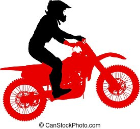 Silhouette of motorcycle rider performing trick on white background