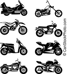Silhouette of motorcycles. Vector monochrome illustrations set