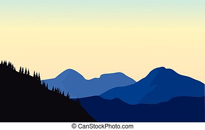 Silhouette of mountain a beautiful