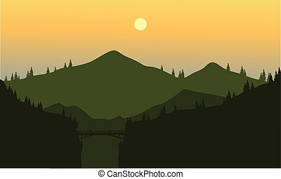 Silhouette of mountain and cliff