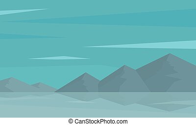 Silhouette of mountain and reflection in water