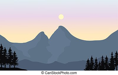 Silhouette of mountain and sun