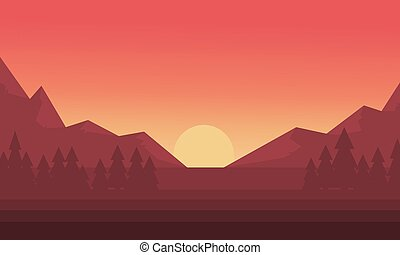 Silhouette of mountain and sun sunset