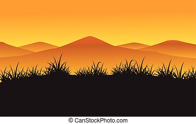 Silhouette of mountain at the sunset landscape