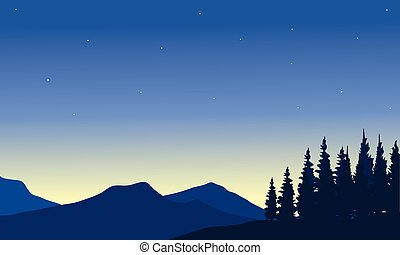 Silhouette of mountain from a far with spruce