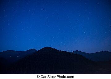 Silhouette of mountain range at night