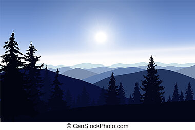 Silhouette of mountains and coniferous trees.