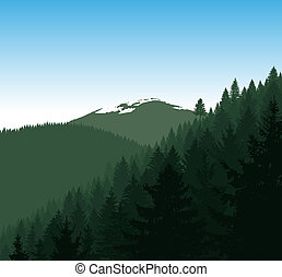 Silhouette of mountains .