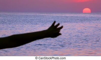 silhouette of moving female hand, sunset sea in background