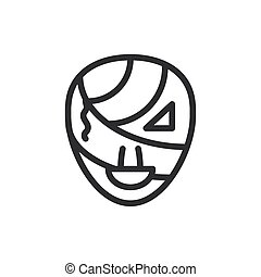 silhouette of mummy head on white background
