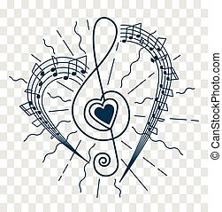 silhouette of musical representation - concept of musical...