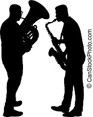 Silhouette of musician playing the saxophone and tuba on a...