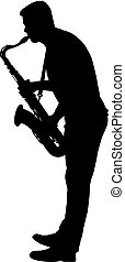 Silhouette of musician playing the saxophone on a white...