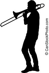 Silhouette of musician playing the trombone on a white...