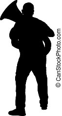 Silhouette of musician playing the tuba on a white...