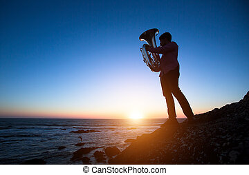 Silhouette of musician with Tuba on rocky sea coast during sunset.