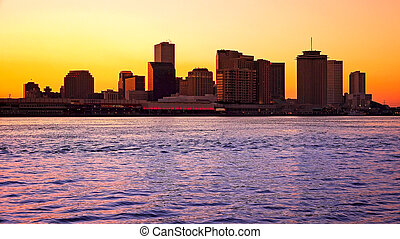 Silhouette of New Orleans City Skyline Across the Mississippi River