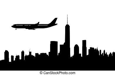 silhouette of newyork and plane landing