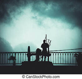 Silhouette of NOLA Bagpipe Player - Silhouette of New ...