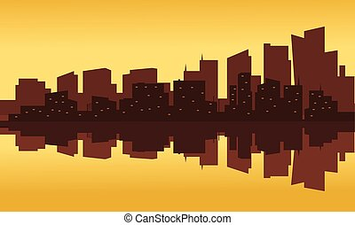 Silhouette of office building at the sunset