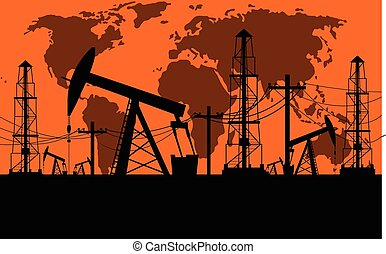 Silhouette of oil derrick oil extraction process in orange