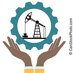 Silhouette of oil pump in hands on a white background